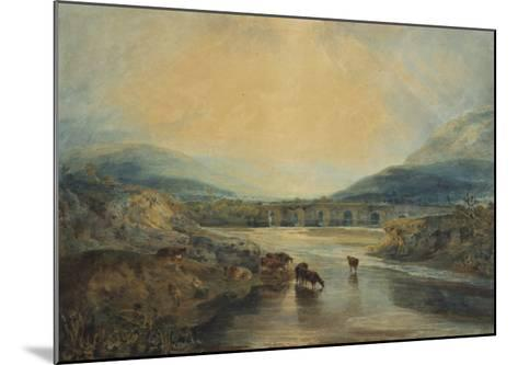 Abergavenny Bridge, Monmouthshire: Clearing Up After a Showery Day, 19th Century-J^ M^ W^ Turner-Mounted Giclee Print