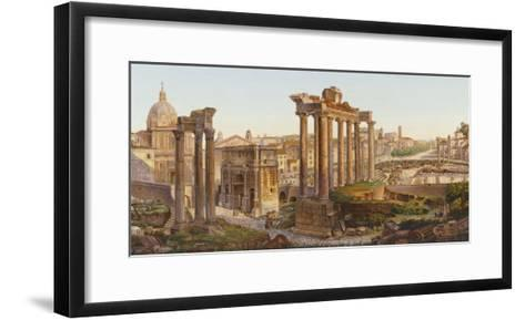 Roman Mosaic Table-Top, Temples of Castor and Pollux in the Roman Forum--Framed Art Print