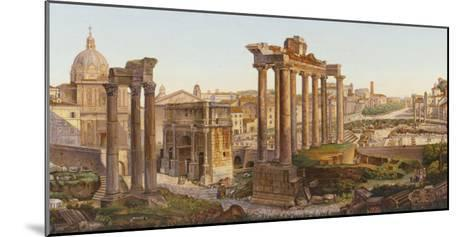 Roman Mosaic Table-Top, Temples of Castor and Pollux in the Roman Forum--Mounted Giclee Print