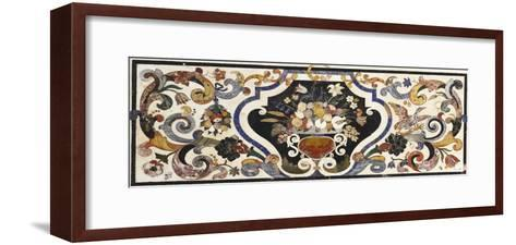 Florentine Pietra Dura Table Top Centred by a Bowl of Fruit and Flowers--Framed Art Print