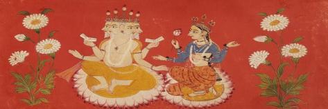 Brahma Seated with Saraswati Brahma Holding Four Vedas and Saraswai Clutching Lotus Petal, c.1650--Stretched Canvas Print