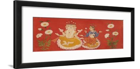 Brahma Seated with Saraswati Brahma Holding Four Vedas and Saraswai Clutching Lotus Petal, c.1650--Framed Art Print