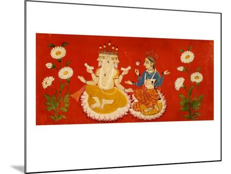 Brahma Seated with Saraswati Brahma Holding Four Vedas and Saraswai Clutching Lotus Petal, c.1650--Mounted Giclee Print