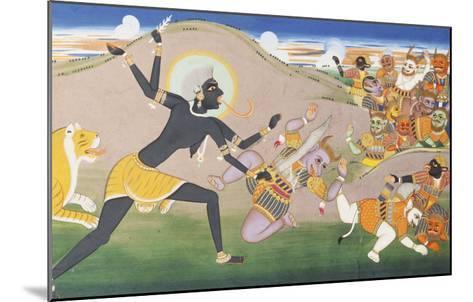 Kali Slaying Demons. Illustration to the Markanddeya Purana. Jaipur, c.1800-1820--Mounted Giclee Print