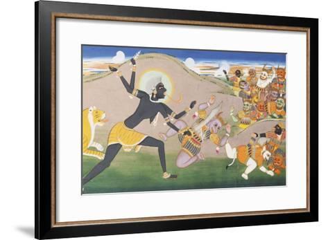 Kali Slaying Demons. Illustration to the Markanddeya Purana. Jaipur, c.1800-1820--Framed Art Print