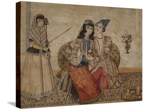 Two Lovers. Qajar Persia, Ah 1254 / 1838 Ad--Stretched Canvas Print