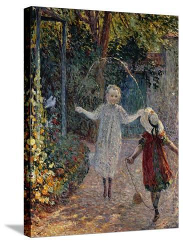 Young Girls Playing in the Garden, Fillettes Jouant Dans Un Jardin-Henri Lebasque-Stretched Canvas Print