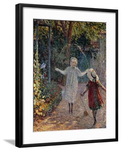 Young Girls Playing in the Garden, Fillettes Jouant Dans Un Jardin-Henri Lebasque-Framed Art Print