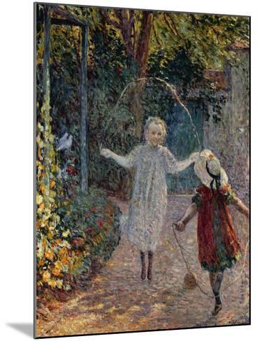 Young Girls Playing in the Garden, Fillettes Jouant Dans Un Jardin-Henri Lebasque-Mounted Giclee Print