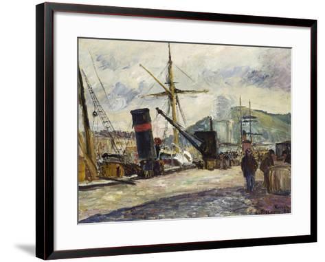 Steamboat, Rouen, Bateau a Vapeur, Rouen, 1883-Camille Pissarro-Framed Art Print