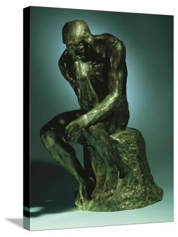 The Thinker, Le Penseur, Bronze with Black Patina, c.1880-1882-Auguste Rodin-Stretched Canvas Print