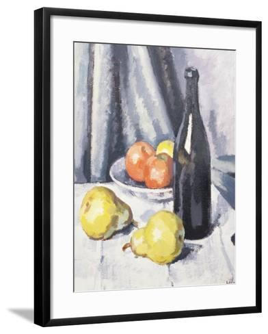 Apples, Pears and a Black Bottle on a Draped Table-Samuel John Peploe-Framed Art Print