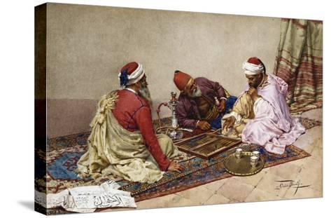 The Backgammon Players-Giulio Rosati-Stretched Canvas Print