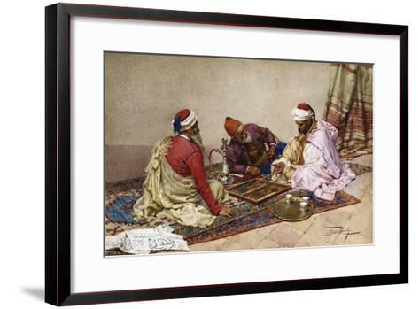 The Backgammon Players-Giulio Rosati-Framed Art Print