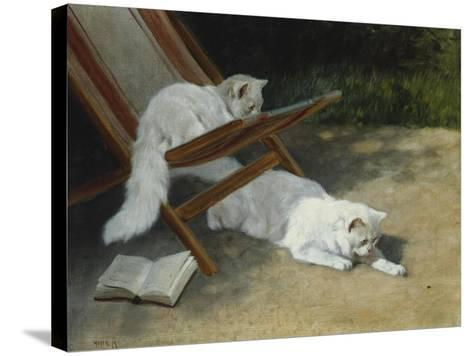 Two White Persian Cats with a Ladybird by a Deckchair, 19th Century-Arthur Heyer-Stretched Canvas Print