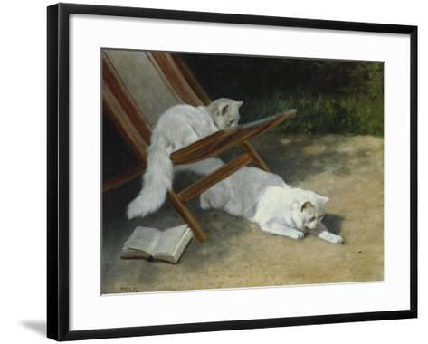 Two White Persian Cats with a Ladybird by a Deckchair, 19th Century-Arthur Heyer-Framed Art Print