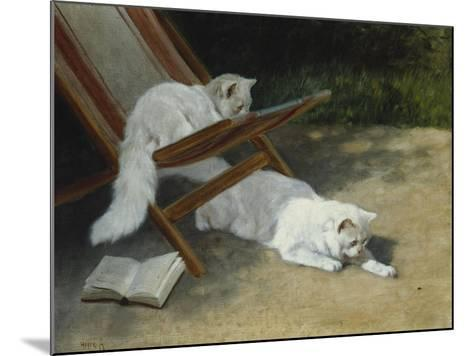 Two White Persian Cats with a Ladybird by a Deckchair, 19th Century-Arthur Heyer-Mounted Giclee Print