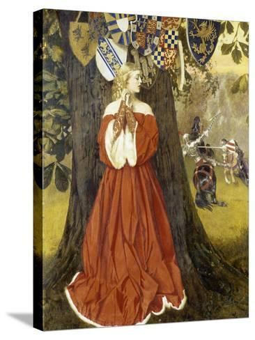 Launcelot Slays Sir Tarquin and Rescues the Fair Lady and the Knights in Captivity, 1954-1955-Richard Bernhardt Louis-Stretched Canvas Print