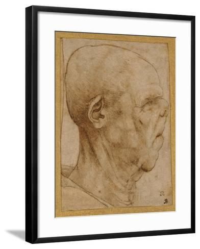 Caricature of the Head of an Old Man, in Profile to the Right, c.1507-Leonardo da Vinci-Framed Art Print