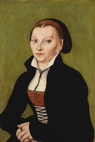 Portrait of Katharina Von Bora, 1472-1553-Lucas Cranach the Elder-Stretched Canvas Print