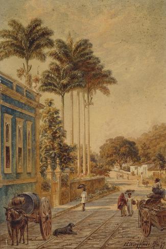 Street Scene, Rio de Janeiro, 1879-Bernhard Wiegandt-Stretched Canvas Print