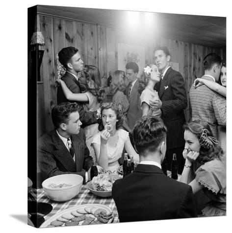 Teenagers Dancing and Socializing at a Party-Nina Leen-Stretched Canvas Print