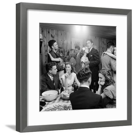 Teenagers Dancing and Socializing at a Party-Nina Leen-Framed Art Print