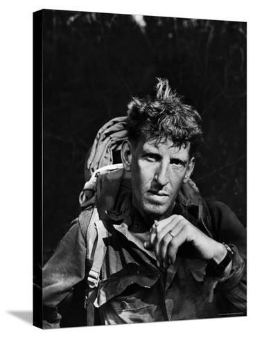 Battle-Weary Soldier, Member of Merrill's Marauders, Pausing with Cigarette, Burma Campaign in WWII-Bernard Hoffman-Stretched Canvas Print