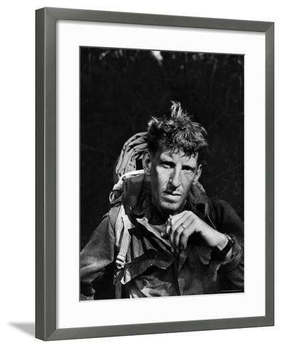 Battle-Weary Soldier, Member of Merrill's Marauders, Pausing with Cigarette, Burma Campaign in WWII-Bernard Hoffman-Framed Art Print