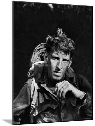 Battle-Weary Soldier, Member of Merrill's Marauders, Pausing with Cigarette, Burma Campaign in WWII-Bernard Hoffman-Mounted Photographic Print