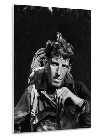 Battle-Weary Soldier, Member of Merrill's Marauders, Pausing with Cigarette, Burma Campaign in WWII-Bernard Hoffman-Metal Print