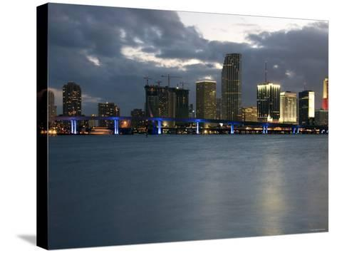 Scenic Skyline View with Illuminated Lights from Buildings in Miami, Florida--Stretched Canvas Print