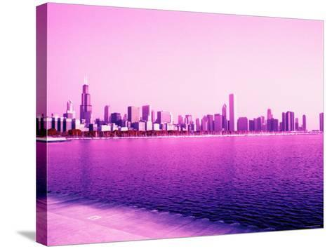 Grandiose Skyline as Seen across the Rippled River Surface in Chicago, Illinois--Stretched Canvas Print