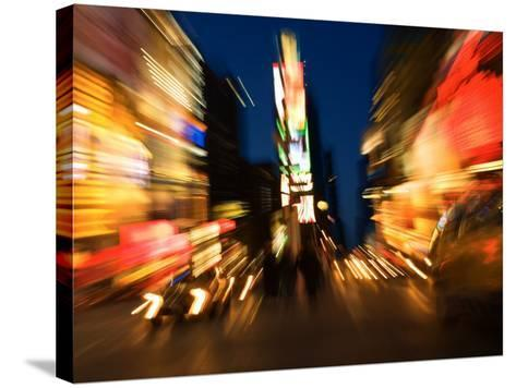 Blurred Light Effect of Times Square in New York City--Stretched Canvas Print