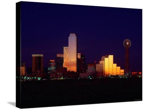 Skyline View of Buildings and High-Rises at Sunset in Dallas, Texas--Stretched Canvas Print