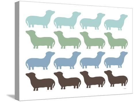 Blue Dashund Family-Avalisa-Stretched Canvas Print