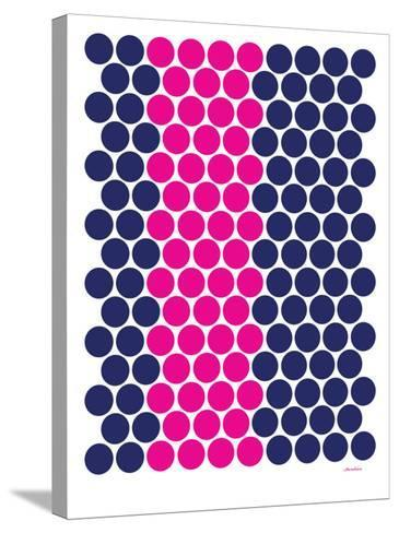 Blue Pink Dots-Avalisa-Stretched Canvas Print