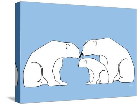 Blue Polar Bears-Avalisa-Stretched Canvas Print