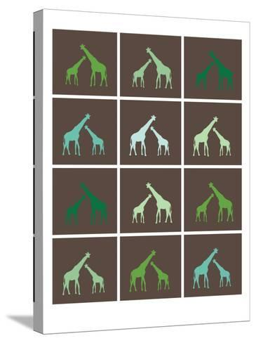 Green Giraffe Squares-Avalisa-Stretched Canvas Print