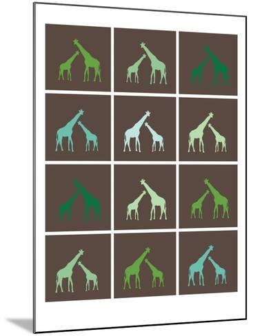 Green Giraffe Squares-Avalisa-Mounted Art Print