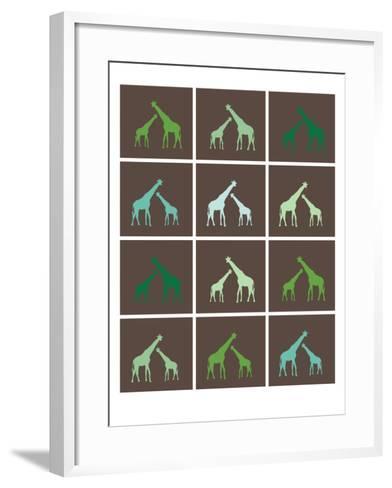 Green Giraffe Squares-Avalisa-Framed Art Print