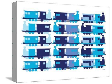 Multi Train Blue-Avalisa-Stretched Canvas Print