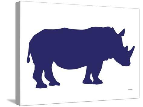 Navy Rhino-Avalisa-Stretched Canvas Print