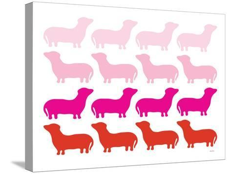 Pink Daschund Family-Avalisa-Stretched Canvas Print