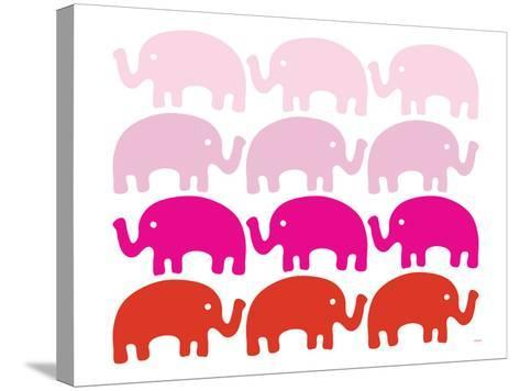 Pink Elephant Family-Avalisa-Stretched Canvas Print