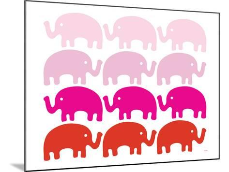 Pink Elephant Family-Avalisa-Mounted Art Print