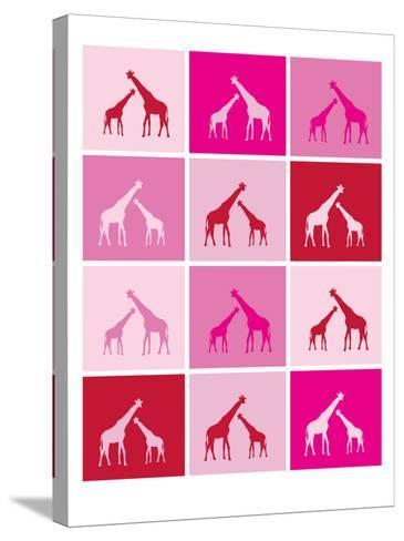 Pink Giraffe Squares-Avalisa-Stretched Canvas Print