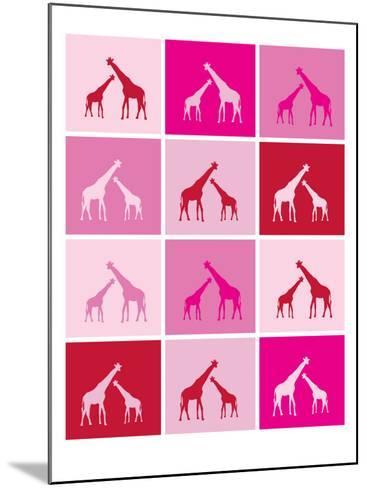 Pink Giraffe Squares-Avalisa-Mounted Art Print