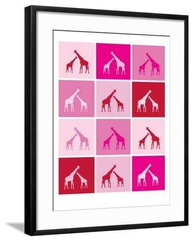 Pink Giraffe Squares-Avalisa-Framed Art Print