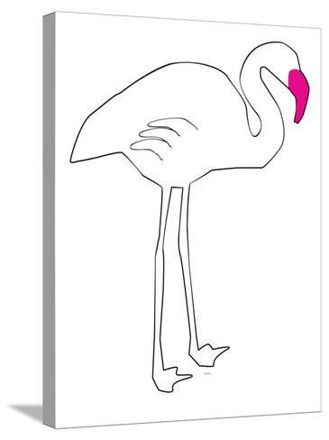 Pink Lone Flamingo-Avalisa-Stretched Canvas Print